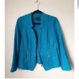 Alfani Teal Blue Blazer with Gold Zippers Size 2